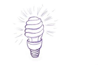 Figure energy saving light bulb on a sheet of paper