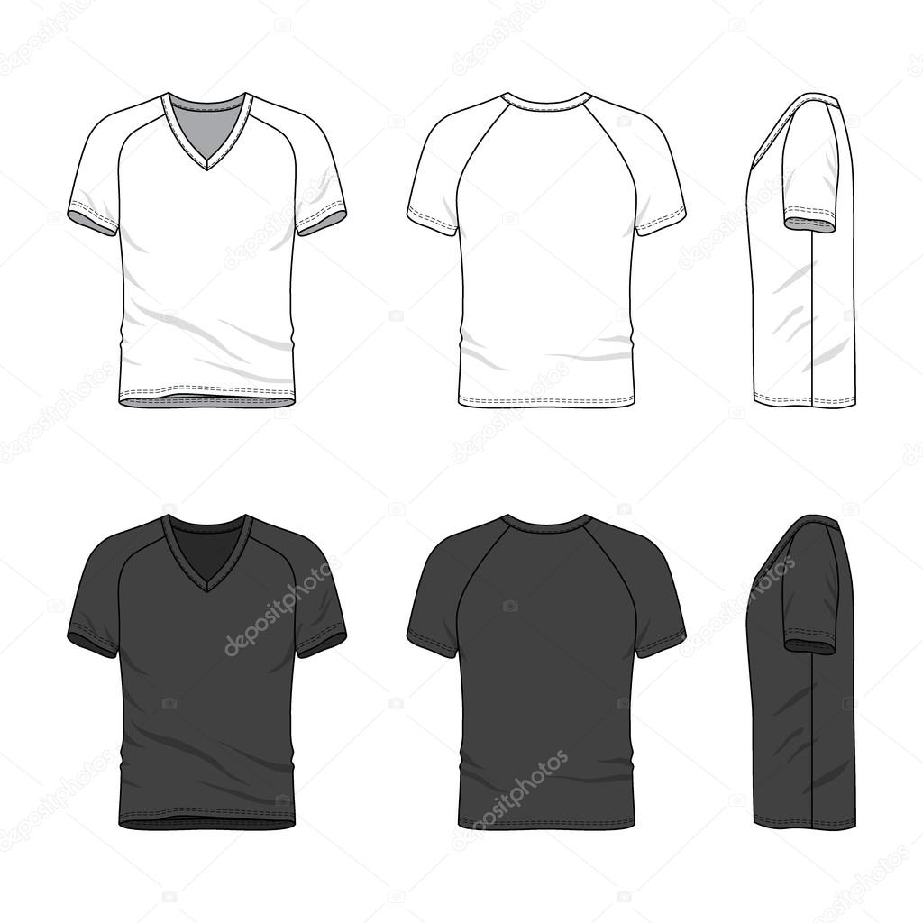 ef05dfd692e4 Men's clothing set in white and black colors. Front, back and side views of  blank v-neck t-shirt with raglan sleeve. Casual style. Vector templates for  your ...