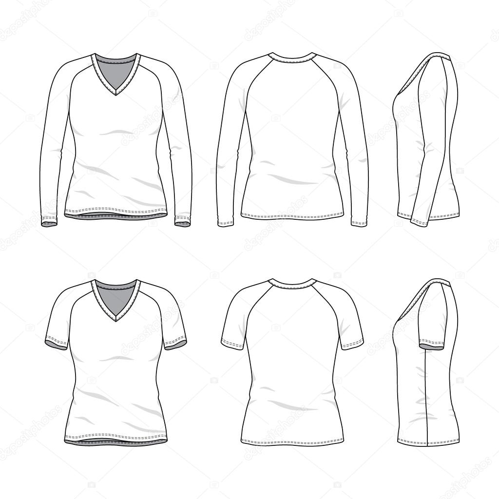 58c7f4e95096 Blank v-neck t-shirt and tee. — Stock Vector © aunaauna2012  101169720