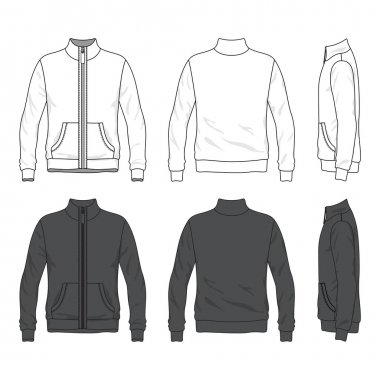 Front, back and side views of blank jacket with zipper