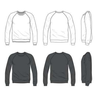 Blank Men's raglan long sleeve sweatshirt in front, back and side views. Isolated on white stock vector