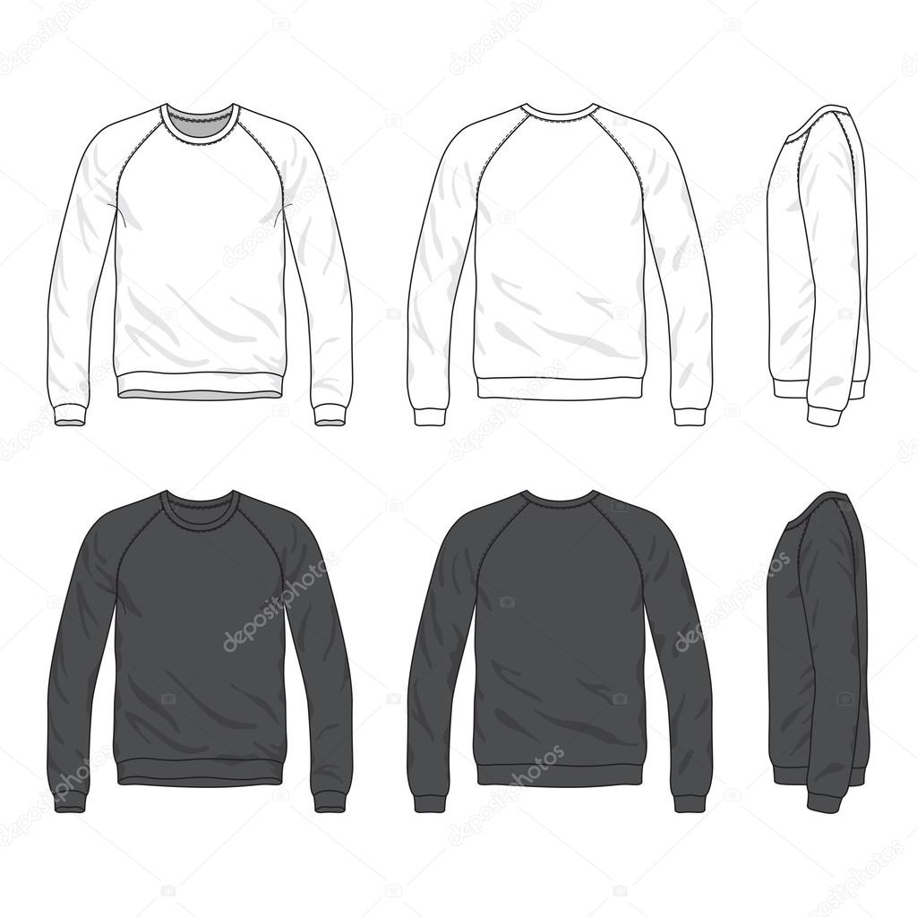 Front, back and side views of blank raglan long sleeve sweatshir