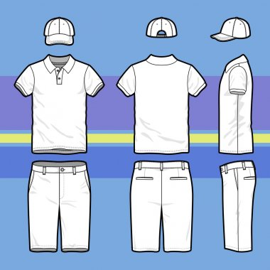 Front, back and side views of men's golf set. Blank templates of polo t-shirt, cap and shorts.  Sports uniform. Vector illustration on the striped background for your fashion design. stock vector