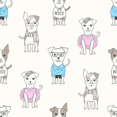 Seamless pattern with puppies in cartoon style