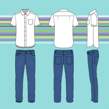 Front, back and side views of men's set. Blank templates of shirt and jeans. Casual style. Vector illustration on the striped background for your fashion design. stock vector