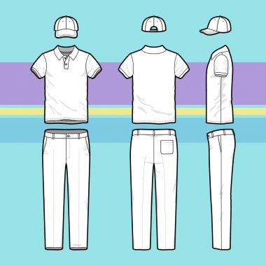 Simple outline drawing of a polo shirt, pants and cap