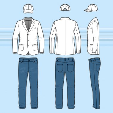 Simple outline drawing of a blazer, jeans and cap