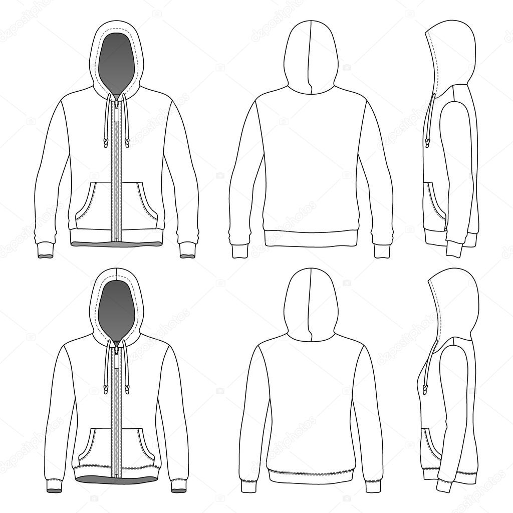 Front back and side views of blank hoodie with zipper stock mens and womens hoodies with zipper in front back and side views vector illustration isolated on white blank clothing templates pronofoot35fo Choice Image