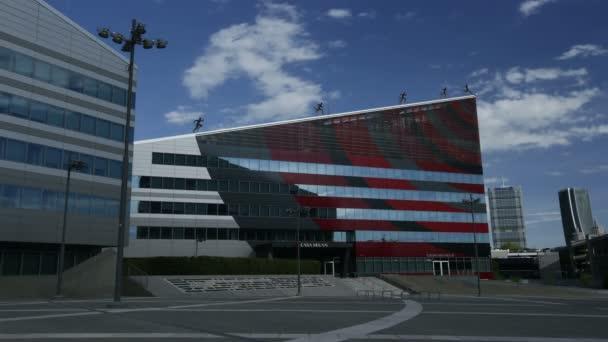 Időeltolódás a Gino Valle tér és az épület Casa Milan, székhelye a labdarúgó klub AC Milan, Portello kerületben, 4k.