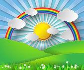 Abstraktní papír rainbow a sluníčko. vektorové ilustrace