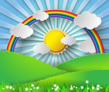Abstract paper rainbow and sunshine. Vector illustration.