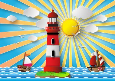Vector illustration  lighthouse with seascape.paper cut style. clip art vector