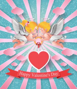 Vector illustration of cute boy and girl cupids. paper cut style. clip art vector