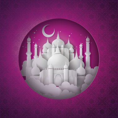 Vector of paper Mosque.