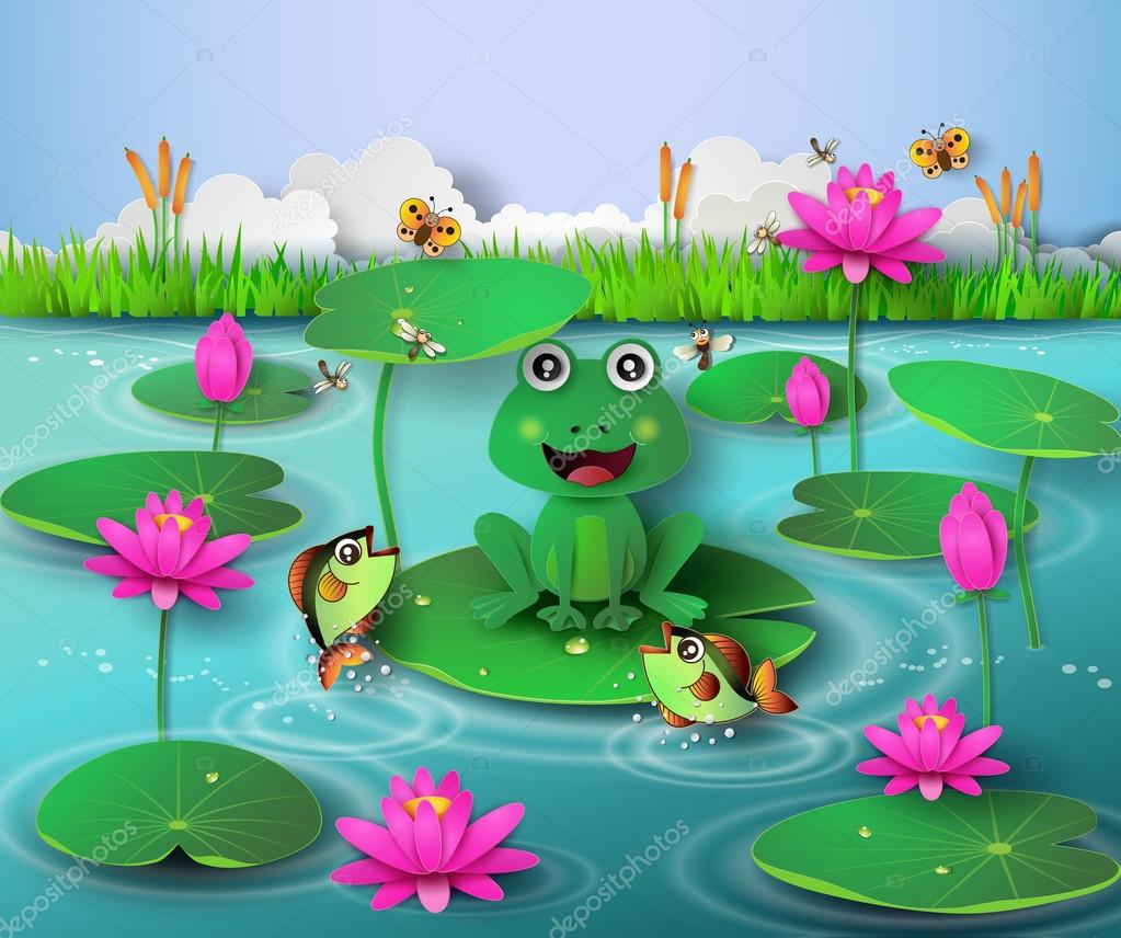 frog in the pond stock vector thana keng 92013772 rh depositphotos com Turtle Vector Turtle Vector