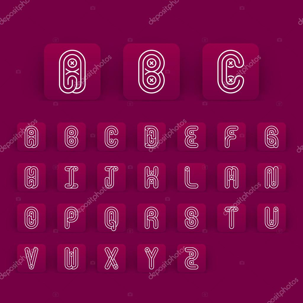 Mono Lines Style Alphabetic Fonts Capital Letter A To Z Stock Vector