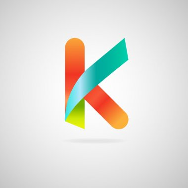 Sign the letter K.color ribbon business logo icon and font