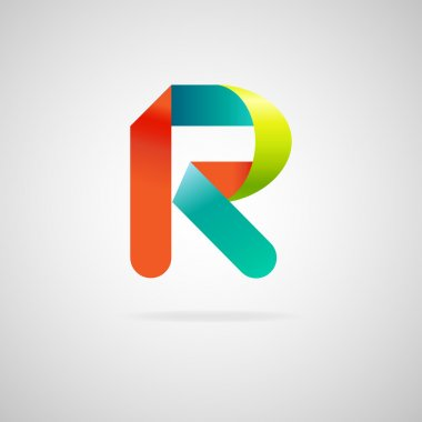 Sign the letter R.color ribbon business logo icon and font
