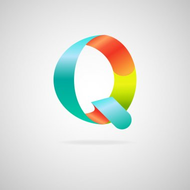 Sign the letter Q.color ribbon business logo icon and font