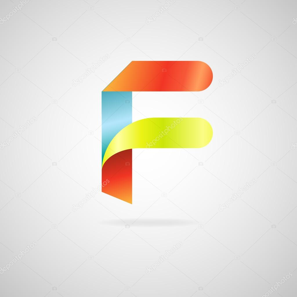 Sign The Letter F Color Ribbon Business Logo Icon And Font Stock Vector