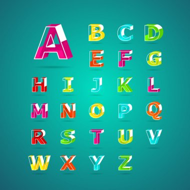 Isometric alphabet font.Capital letter A, B, C, D, E, F, G, H, I