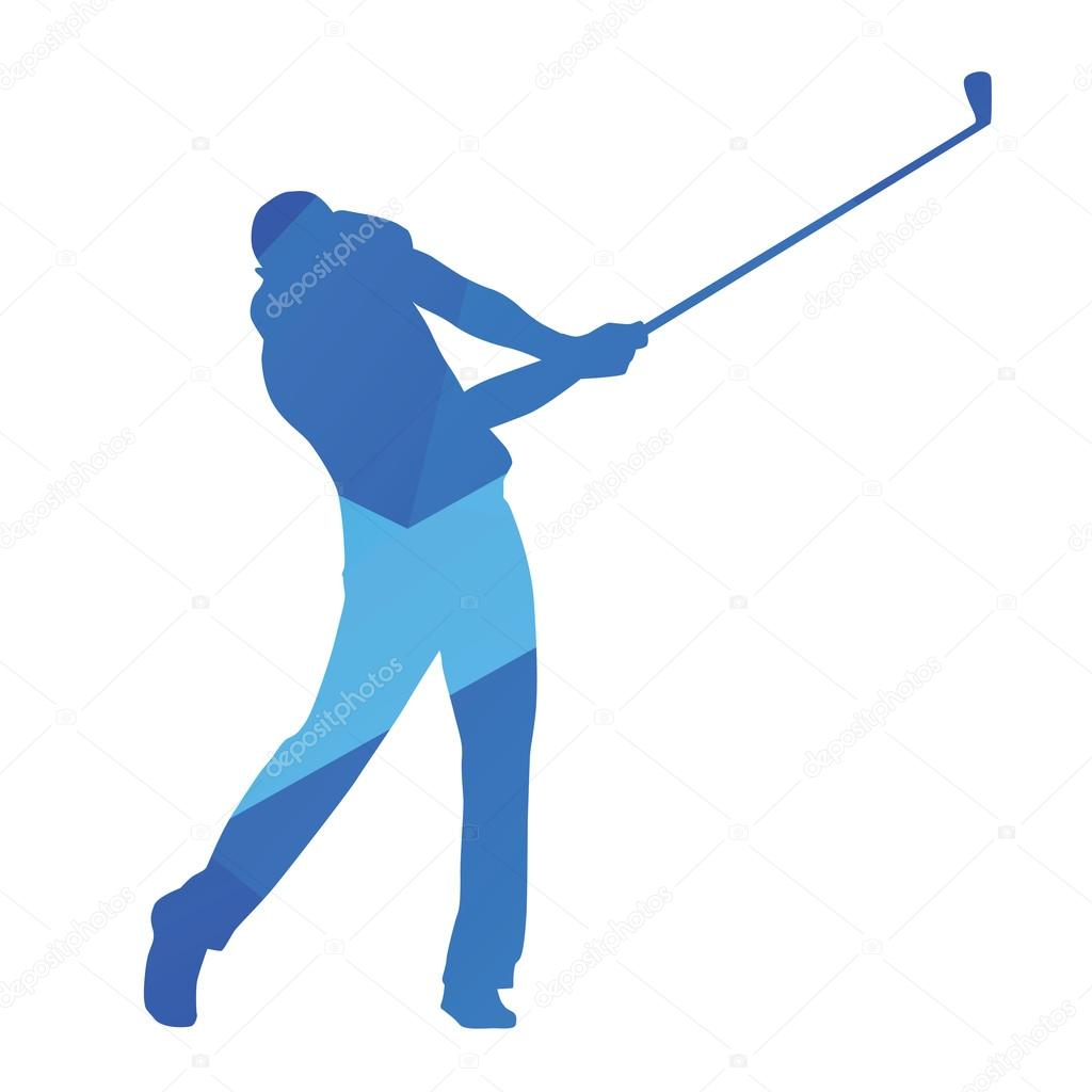golf player golf swing blue abstract vector silhouette vector by msanca