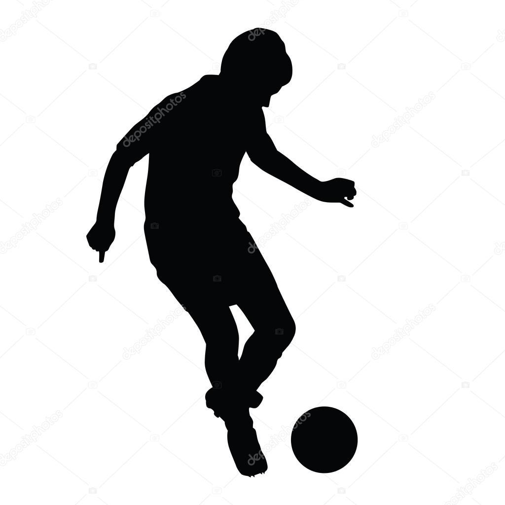 jugador de f u00fatbol joven pasa la silueta de la bola  chico soccer player clip art silhouettes soccer player clipart image png