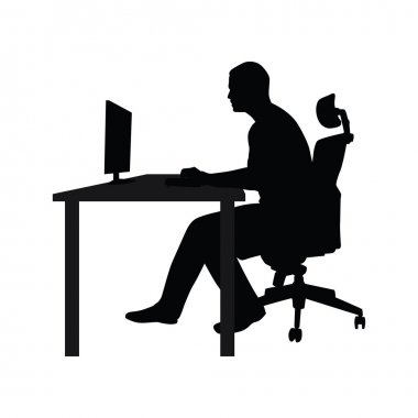 Man sitting on office chair at table and working on computer. Side view. Vector silhouette. Man working in office at desk and staring into monitor stock vector
