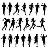 Fotografia Insieme delle siluette dellesecuzione di uomini e donne. Corre, corridore, sport
