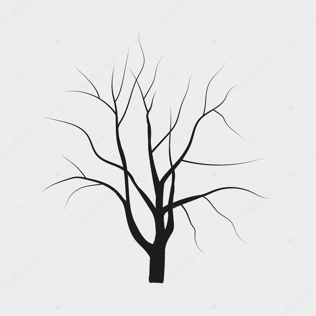 vector drawing silhouettes of trees without leaves
