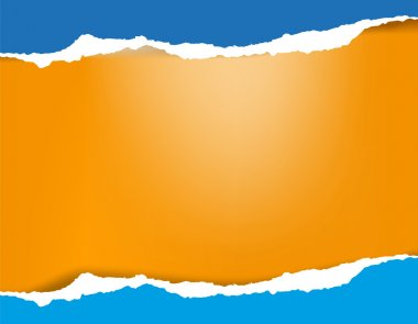 Bright azure blue torn paper background with shadow on orange ba