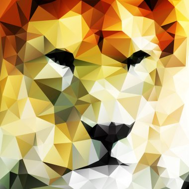 Abstract vector drawing of a lion's head made up of triangles