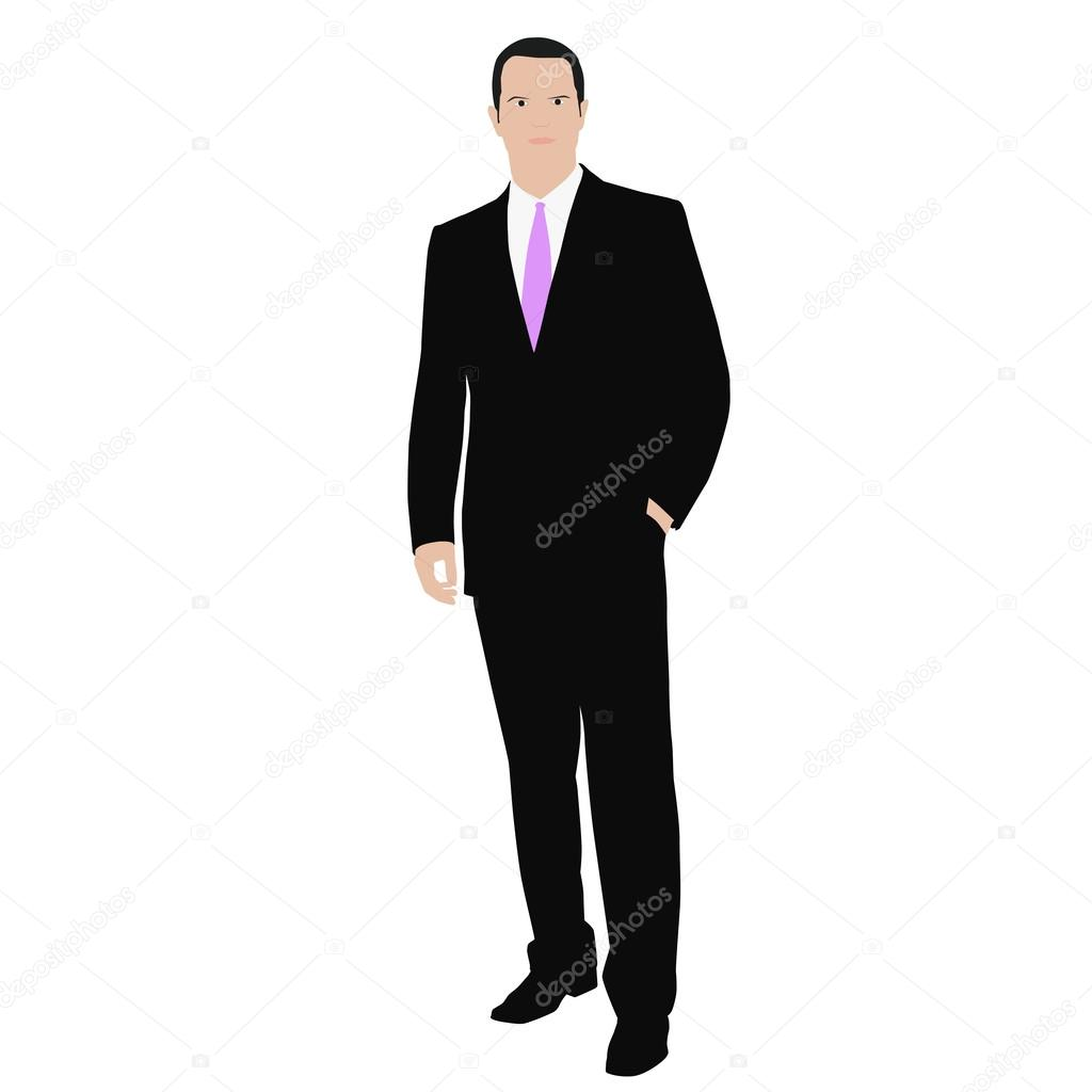 Vector man in a suit drawing