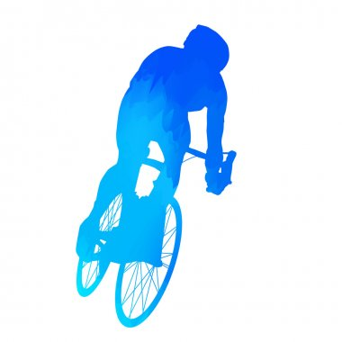 Abstract blue cyclist