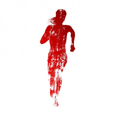 Abstract red running woman silhouette