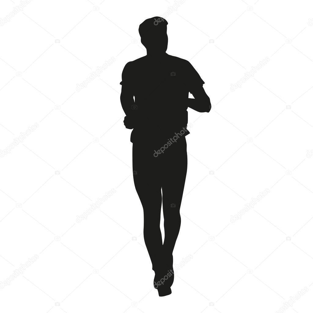 running man silhouette stock vector msanca 68463453 rh depositphotos com man run silhouette vector man silhouette vector free download