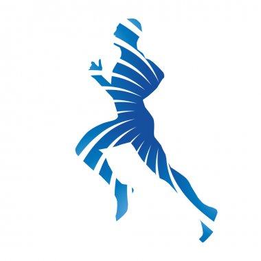 Abstract blue vector runner