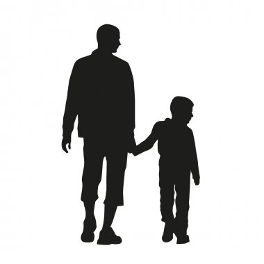 Father and son. Vector silhouette