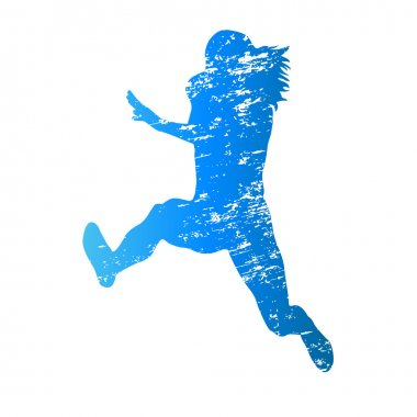Scratched vector silhouette of jumping woman