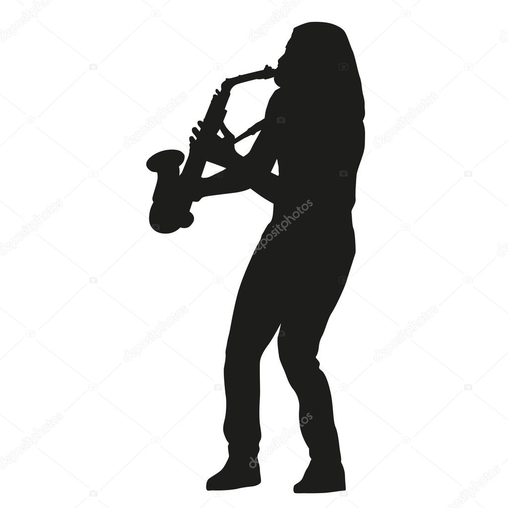 Saxophone player. Vector silhouette — Stock Vector ...