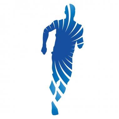 Run, running man, blue vector silhouette