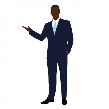 African American business man in office. Man in a dark blue suit