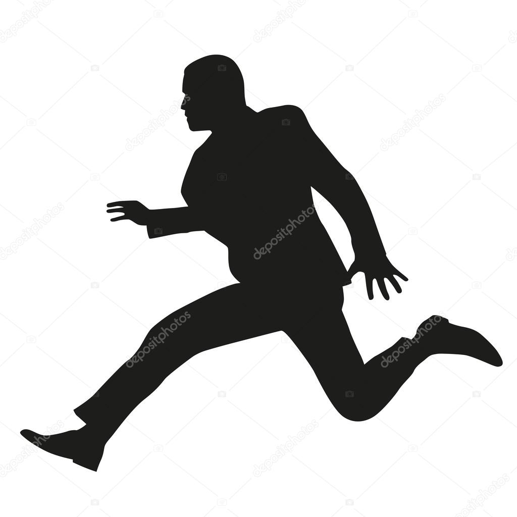 Man In Suit Running Silhouette