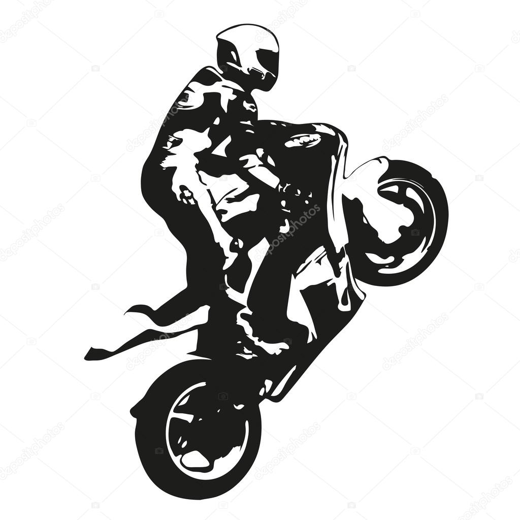 moto corrida vetor desenho silhueta wheelie vetores de stock