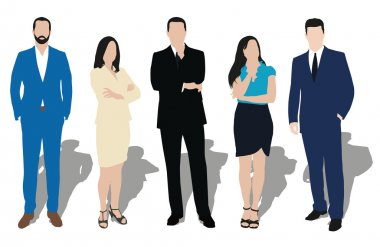 Collection of business people illustrations in different poses.