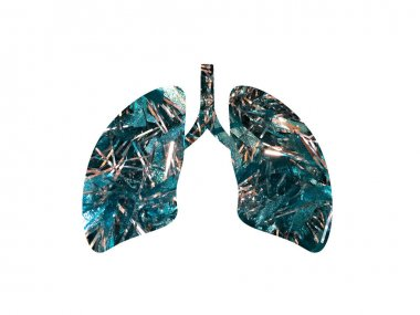 full screen blue tinsel texture. Shot through the cut out silhouette of the lungs. International Asthma Day