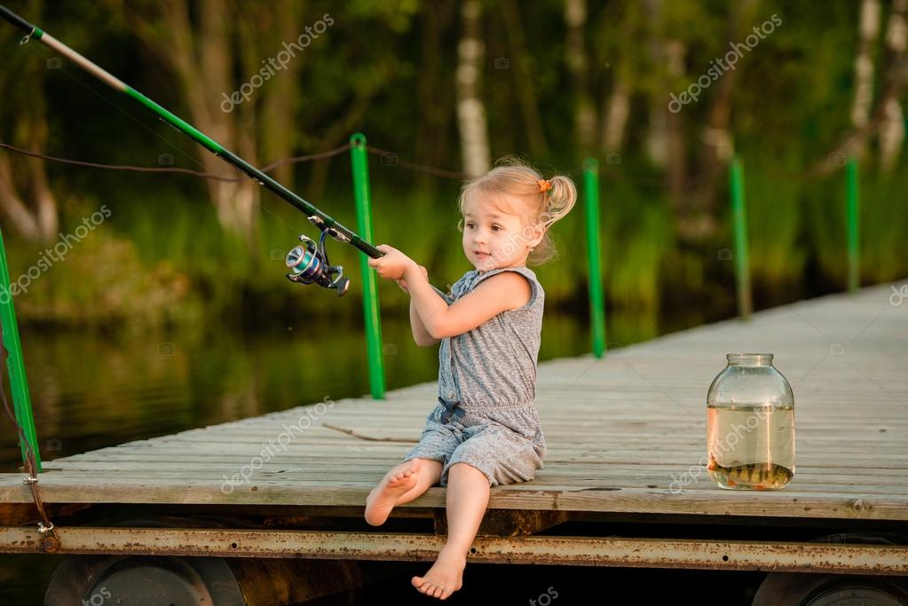 Little girl Catching a Fish