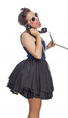 Pin up woman talking on telephone