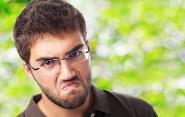 Angry man in glasses
