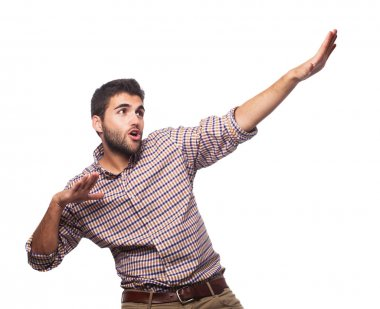 Man doing a victory gesture
